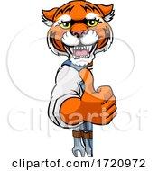 Tiger Plumber Mechanic Handyman Peeking Sign