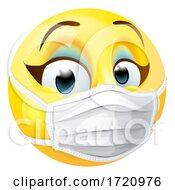 Poster, Art Print Of Woman Emoticon Emoji Ppe Medical Mask Face Icon