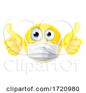 Thumbs Up Emoticon Emoji PPE Mask Face Icon by AtStockIllustration