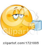 Poster, Art Print Of Cartoon Smiley Emoji Drinking Coffee