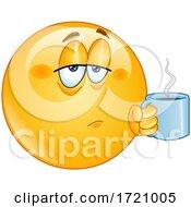 Cartoon Smiley Emoji Drinking Coffee