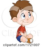 Cartoon Happy Boy Sitting On The Floor