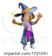 Black Girl Cartoon Child Halloween Witch Costume