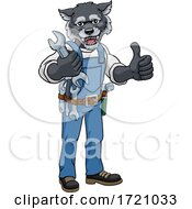 Wolf Plumber Or Mechanic Holding Spanner