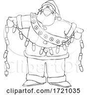 Cartoon Black And White Covid Christmas Santa Holding A Strand Of Lights
