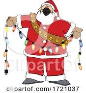 Cartoon Covid Christmas Santa Holding A Strand Of Lights