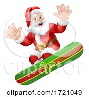 Santa Snowboarding Christmas Cartoon