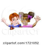 Poster, Art Print Of Girls Waving Cartoon Children Kids Sign