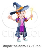 Kid Cartoon Girl Child In Witch Halloween Costume