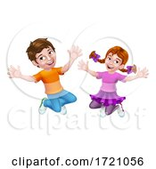 Jumping Girl And Boy Kids Children Cartoon