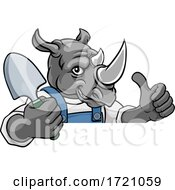 Rhino Gardener Gardening Animal Mascot by AtStockIllustration