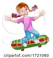 Poster, Art Print Of Child Skateboarding Girl Kid Cartoon