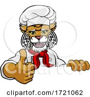 Wildcat Chef Mascot Sign Cartoon Character