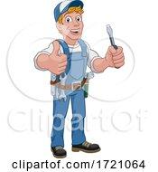 Poster, Art Print Of Electrician Cartoon Handyman Plumber Mechanic