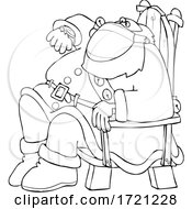 Cartoon Lineart Santa Wearing A Mask Sitting And Checking His Watch