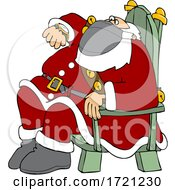 Cartoon Santa Wearing A Mask Sitting And Checking His Watch