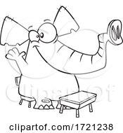Poster, Art Print Of Cartoon Black And White Class Elephant Raising Its Hand
