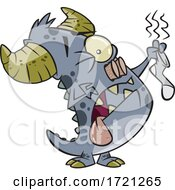 Cartoon Monster Holding A Smelly Sock