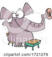 Poster, Art Print Of Cartoon Class Elephant Raising Its Hand