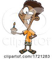 Cartoon Boy Holding A Birthday Cupcake