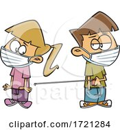 Cartoon Kids Wearing Masks And Keeping Social Distance With A Tape Measure