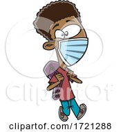 Cartoon Boy Wearing A Mask And Going Back To School