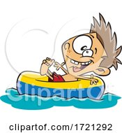 Cartoon Boy Floating On A River Tube