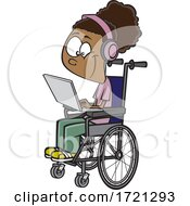 Cartoon Girl In A Wheelchair Using A Laptop Computer For Distance Learning
