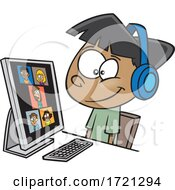 Poster, Art Print Of Cartoon Boy On A Zoom Call