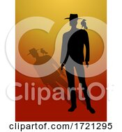 Man Black Silhouette And Shadow With Crow