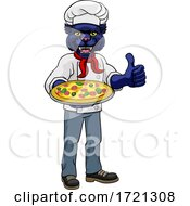 Panther Pizza Chef Cartoon Restaurant Mascot