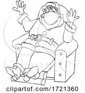 Cartoon Covid Christmas Santa Wearing Gloves And A Mask And Sitting