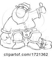 Cartoon Covid Christmas Santa Claus Hitchhiking