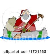 Cartoon Covid Christmas Santa In A Canoe