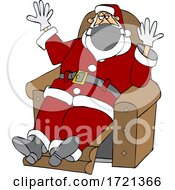 Cartoon Covid Christmas Santa Wearing Gloves And A Mask And Sitting