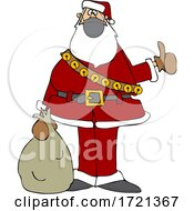 Cartoon Covid Christmas Santa Hitchhiking
