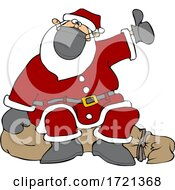 Cartoon Covid Christmas Santa Claus Hitchhiking