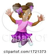 Poster, Art Print Of Happy Jumping Girl Kid Child Cartoon Character
