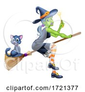 Witch Halloween Cartoon Character On A Broomstick