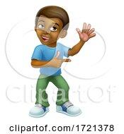 Poster, Art Print Of Black Boy Cartoon Character Child Kid Pointing