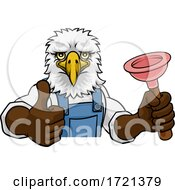 Eagle Plumber Cartoon Mascot Holding Plunger