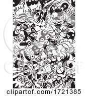 Seamless Black and White Monster Pattern by Zooco #COLLC1721385-0152