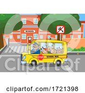 Poster, Art Print Of Happy Bus Driver And Kids Going Back To School