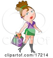Sexy Brunette Caucasian Woman Carrying A Cute Little Chihuahua Dog In Her Purse While Shopping Clipart Illustration by Maria Bell