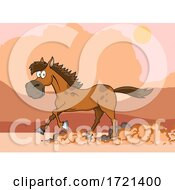 Horse Running In A Desert