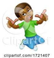 Poster, Art Print Of Happy Jumping Boy Kid Child Cartoon Character