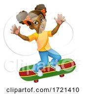 Child Skateboarding Girl Kid Cartoon