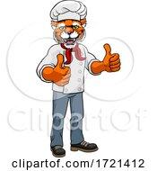 Poster, Art Print Of Tiger Chef Mascot Cartoon Character