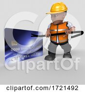 Poster, Art Print Of 3d Builder Character On A Shaded Background