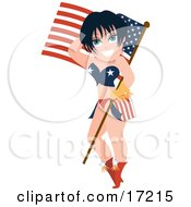 Sexy Brunette Caucasian Pinup Woman In A Bikini Holding An American Flag And Balancing The Pole On Her Hip